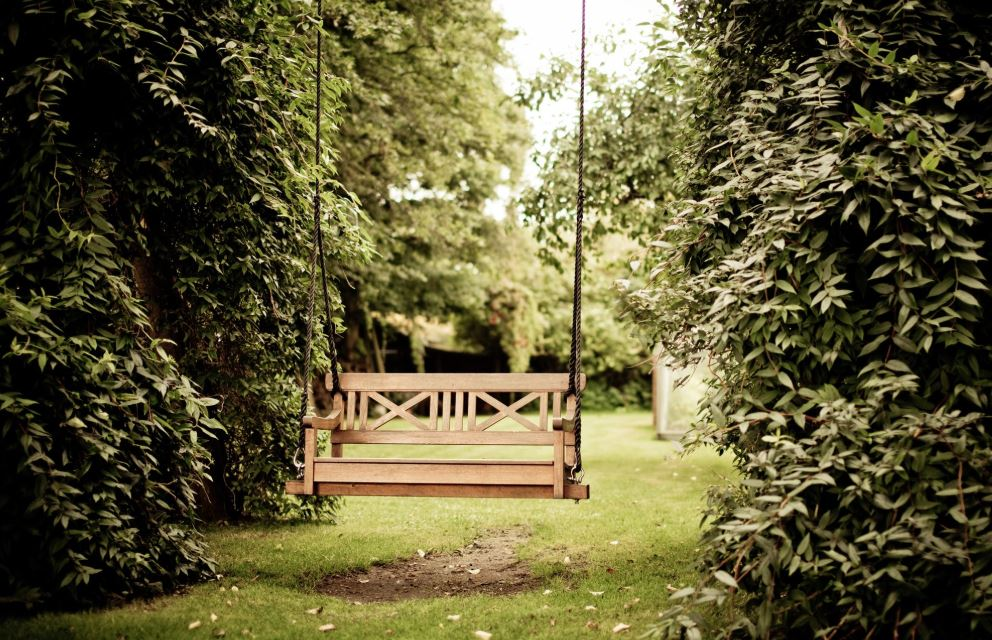 banc suspendu jardin
